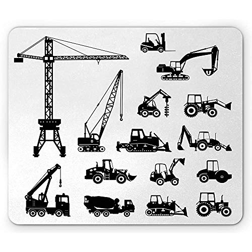 Bouw Muis Pad, Zwart Silhouettes Beton Mixer Machines Industriële Set Vrachtwagens Tractoren, Mousepad muismat Zwart