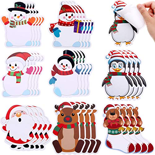 32 Pieces Christmas Notepad Winter Theme Self Sticky Notes Holiday Memo Notes for Work Study Decoration Present, Christmas Elements 8 Styles