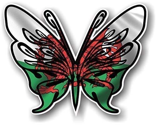Tribal Vlinder Ontwerp Tattoo Stijl Met Welshe Draak Wales CYMRU Land Vlag Nieuwigheid Vinyl Auto Sticker Sticker Decal 120x95mm