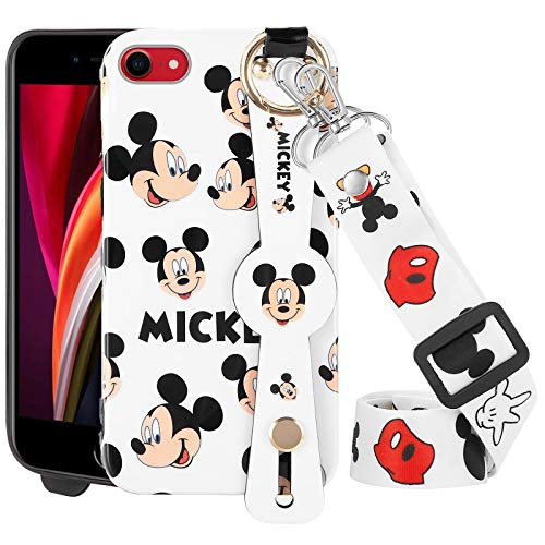 DISNEY COLLECTION iPhone SE(2020)/7/8 Case 4.7 Inch,Luxury Disney's Mickey Mouse Cartoon Character Phone Case with Wrist Strap Long Lanyard Bumper Protector Scratch-Resistant Street Fashion