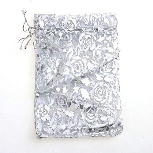 50 pzas / lote bolsa de Navidad de Color rosa dorado para boda bolsas de embalaje de regalo de gasa de Organza dibujables-Plata_El 11x16CM