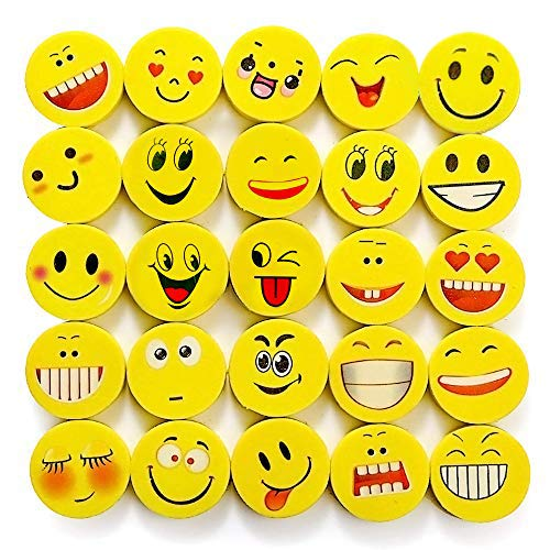 THE TWIDDLERS 100 Emoji Emoticon Lápiz Gomas Borrar - Lindos Relleno Piñatas Bolsas De Fiesta Regalos para Cumpleaños Niños Halloween Año Nuevo Navidad Regalo Juguete, Recompensas De Los Maestros