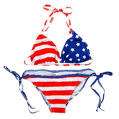 Milya Zweiteiliger Bikinibadeanzug Bikini-Set Swimwear Gepolsterte BH Neckholder USA Flagge Muster Size M