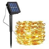 Guirnalda Luces Exterior Solar, Luces Navidad 8 Modos 120 LEDs 12M/39ft Alambre de Cobre Luz Decorativa Impermeable, para Terraza, Fiestas, Bodas, Patio, Jardines, Festivales (Blanco Cálido)