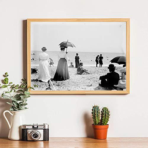 Palm Beach Retro Fotografía Cartel de la lona Vacaciones de verano Playa Paisaje Arte de la pared Pintura Impresiones Decoración del hogar40x50 cm sin marco