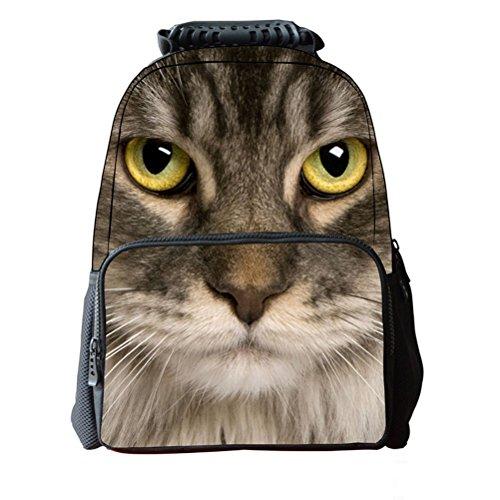 Pixnor Sac à dos école unisexe sacs voyage imprimé Animal 3D randonnée sacs d'un jour
