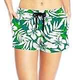 SARA NELL Women's Beach Board Shorts Hawaii Hawaiian Green and White Tropical Flowers Swim Trunks Briefs Swimsuit