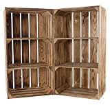 Kontorei® geflammter/flambierter Hochschrank mit 2 Böden 68cm x 40cm x 31cm 4er Set Holzregal Regal Obstkiste Kiste