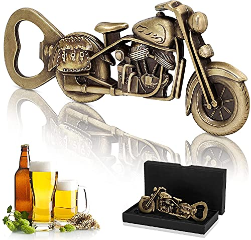 woyada Décapsuleur vintage moto en métal + boîte cadeau, Cadeaux fête des pères, Décapsuleur vintage moto de bière pour bar, fête, cadeau unique pour homme, papa