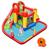 BOUNTECH Inflatable Bounce House, Mighty 7 in 1 Water Slide Park w/ Jumping Area, Climb Wall, Splash Pool, Water Cannon, Including Carry Bag, Ocean Ball, Repair Kit, Stake, Hose (With 740W Air Blower)