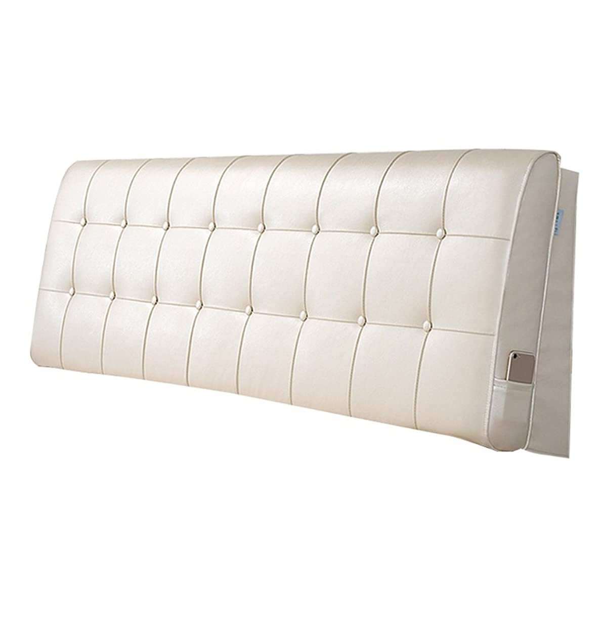 平日まだら修正抱き枕 ヘッドボードトライアングルピローバッククッションベッド用の大きな背もたれベッドサイドソファソフトケースピローシングルダブルキングベッドウェッジピローランバークッション(ベージュレザー) (色 : Bed without headboard, サイズ さいず : 200×60cm)