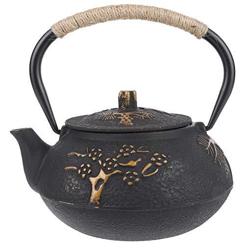 Tetera de hierro fundido, tetera tradicional tradicional de diseño de flores de hierro fundido de estilo chino con infusor de acero inoxidable para uso doméstico, salón de té, regalo, obsequio