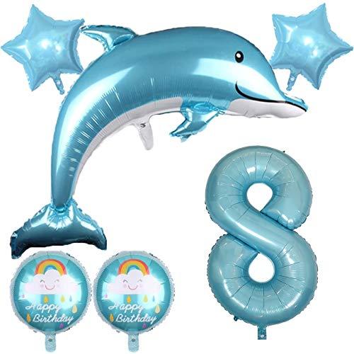DIWULI, großes Delfin Luftballon Set, XXL Zahlen-Ballon blau, Happy Birthday Folien-Ballons,Kinder-Geburtstag Junge Mädchen, Motto-Party Deko, Dekoration, Meer, Meerestier, Fisch, Stern (8: Acht)
