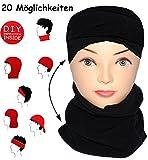 alles-meine.de GmbH Multifunktionstuch - Fleece -  schwarz  - UNIVERSAL Größe - Schlauchschal / Mütze / Piratentuch / Halstuch - für Baby / Kinder / Erwachsene - Loop Kinder Mä..