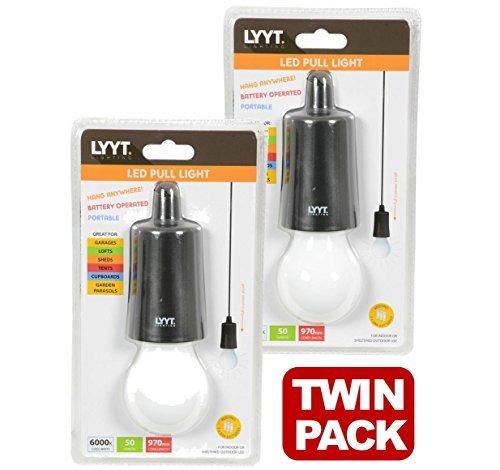 Lytt Decken-Hängeleuchten, LED, mit Schnur, tragbar, für Garagen, Schuppen, Zelte und Dachboden, 410.385, 2 Stück