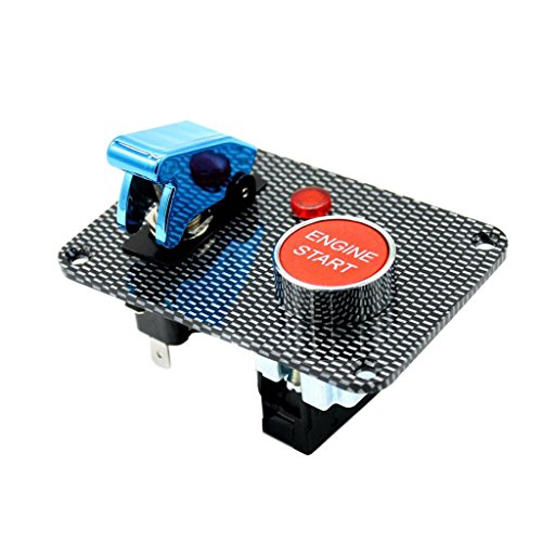 balikha Botón de Arranque del Motor de Bloqueo de Encendido de Carreras de Coches LED con Cubierta Azul