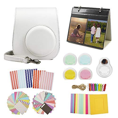 MUZIRI KINOKOO Mini 11 Schutzhülle für Fujifilm Instax Mini 11, Schutzhülle mit 8 nützlichen Zubehör-Kamerataschen, 4 Farben, Filterobjektiv und Selfie-Objektiv, Weiß