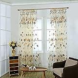 Nicoone Cortinas de gasa transparente, cortina de gasa de flores, cortinas clásicas ultra transparentes con bolsillo para barra para dormitorio, sala de estar, color naranja