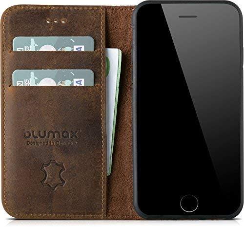 Blumax Echt Ledertasche Leder Flip Case Tasche Hülle Elektronik