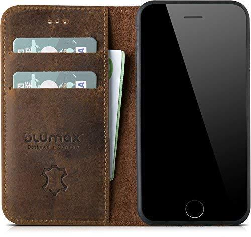 Blumax Echt Ledertasche Leder Flip Case Tasche Hülle kompatibel mit Apple iPhone SE-2020 iPhone7 und iPhone8 auch für iPhone 6/6s Kartenfächer kabelloses Laden Qi möglich antik-dunkelbraun