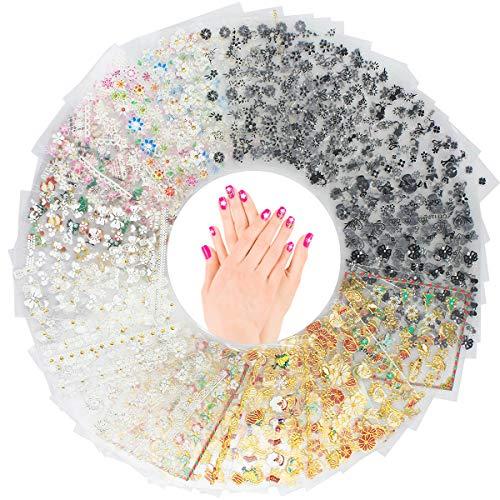 Nagelsticker, Netspower 50 PCS 3D Design Nagelkunst Sticker Abziehbilder Nail Art Set, Selbstklebende Nagelaufkleber Maniküre Fingernägel Aufkleber DIY Nagelspitzen Deko - Auswahl mehrerer Muster