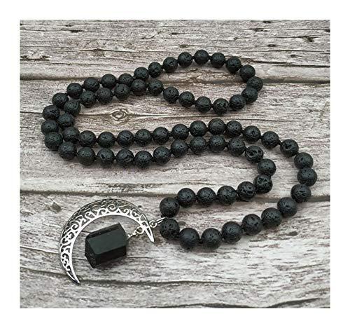 DERFX Natural Black Tourmaline Pendant Black Lava Stone Beads Knot Handmade Necklace (Metal color : 40inch long)