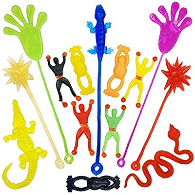 DoDoMagxanadu 14 Pack Vinyl Assorted Stretchy Sticky Toy Novelty Fidget Toy Including Large Sticky Hands, Wall Climber Men, Hammers, Snakes,Lizards,Crocodile and Flying Frogs for Party Favor Kids from Mx