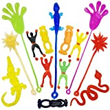 DoDoMagxanadu 14 Pack Vinyl Assorted Stretchy Sticky Toy Novelty Fidget Toy Including Large Sticky Hands, Wall Climber Men, Hammers, Snakes,Lizards,Crocodile and Flying Frogs for Party Favor Kids