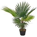 UnfadeMemory Künstliche Pflanze Palme mit Topf Kunstpflanze Grün 70 cm Kunststoff Topfpflanzen Dekoration