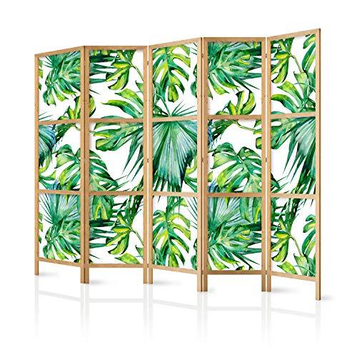 murando - Paravent XXL Tropische Blätter Monstera grün 225x171 cm 5-teilig einseitig eleganter Sichtschutz Raumteiler Trennwand Raumtrenner Holz Design Motiv Deko Home Office - Japan b-B-0295-z-c