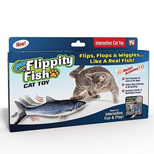 Ontel Flippity Fish Katzenspielzeug, bewegt sich wie ein echter Fisch, inkl. Angelrute und Katzenminze