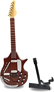 Alano Guitar Christmas Ornament, Electric Guitar Bass Mini Toy Guitar Musical Instrument, Wooden Music Instrument, Red Miniature Dollhouse Model Home Decoration (Wine red Electric Guitar)