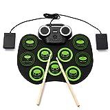 Lin 9 Pads Midi USB portátil Plegable Mano Roll hasta Tambor de Silicio - El Fabricante de electrónica Digital del Juego de batería Set de percusión, de práctica for niños Adultos Principiantes