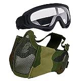 Aoutacc - Set di accessori protettivi per softair, maschera a metà viso in rete con prote...