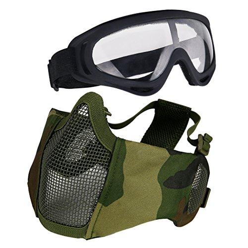 Aoutacc Airsoft - Juego de máscaras de malla de media cara con protección para los oídos y gafas para CS/caza, paintball, tiro (camuflaje)
