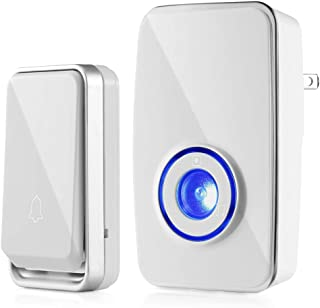 Self-Powered Wireless Doorbell, Merisny Wireless Door Bell Chime Kit with LED Indicator 51 Chimes 5 Levels Volume 1000ft Operating Range IP44 Waterproof, No Batteries Required