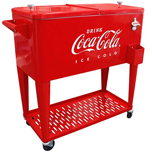 Leigh Country CP 98126 80 Quart Coca-Cola Cooler with Grated Tray, Red