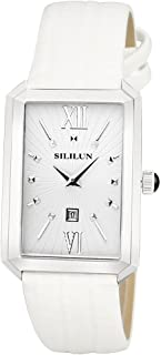 SILILUN Unisex Watch Men Rectangle Wrist Watch Quartz Analog Leather Business Watch Dress Watch