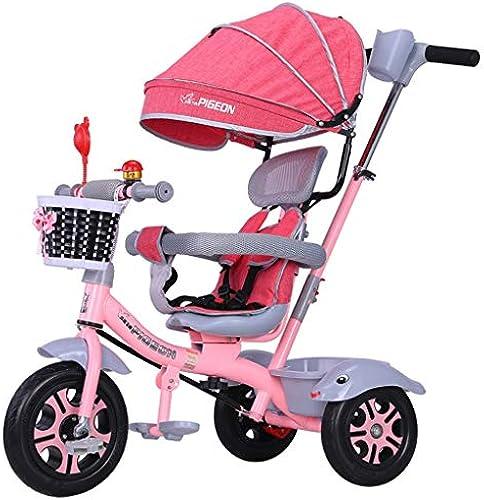Kinder Dreirad, Kinder Trikes 4 In 1 Fahrrad 1-3-6 Jahre alt Trolley Kind Fahrrad Markise Wendefaltpedal Multifunktions (Farbe   Rosa)