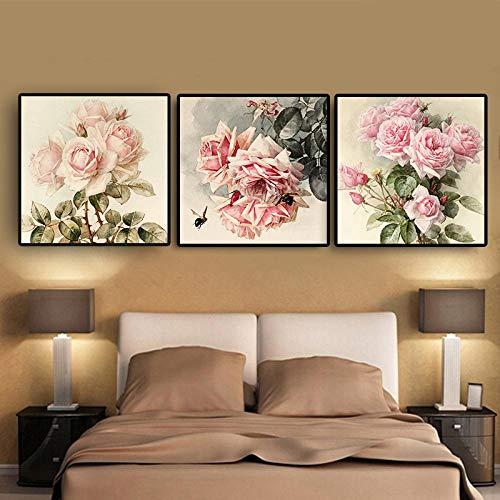 YB Vintga Rose bloemposter en prints roze pioenroos tulpen canvas schilderij Scandinavische stijl keuken kinderkamer decoratie 30 x 30 cm geen lijst