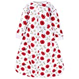 Hudson Baby Unisex Baby Premium Quilted Long Sleeve Sleeping Bag and Wearable Blanket, Poppy Daisy, 6-12 Months