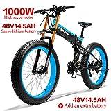 LANKELEISI 750PLUS 48V14.5AH 1000W Motor Bicicleta eléctrica con Todas Las Funciones 26''4.0 Bicicleta de montaña de Nieve de 27 velocidades Plegable Bicicleta Adulta(Azul +1 batería Extra)