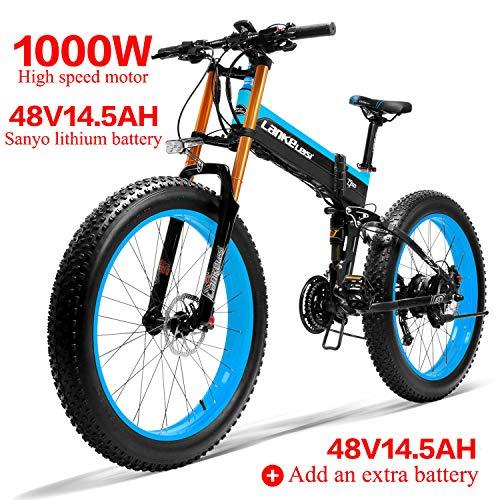 LANKELEISI 750PLUS 48V14.5AH 1000W Motor Bicicleta eléctrica con Todas Las Funciones 26''4.0...