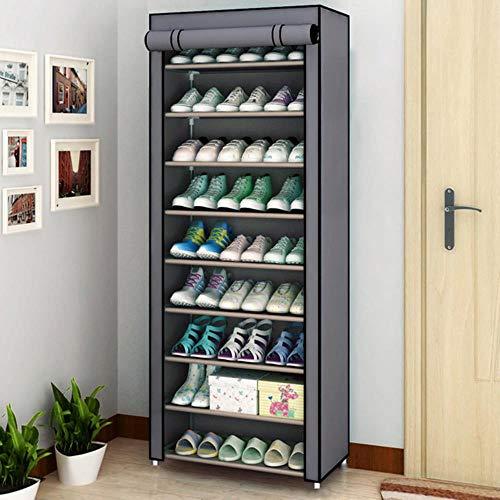 Armario de zapatos de múltiples capas Armario de almacenamiento de zapatos a prueba de polvo Pasillo que ahorra espacio Organizador de zapatero Soporte para el hogar Re Zapatero-gris 9L