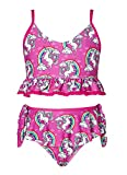 AIDEAONE Mädchen 2 Stück Bikini Set Entzückender Volant Zweiteiliger Badeanzug Kinder Schwimmkostüm 8-9 Jahre für Feiertage Strandsurfen