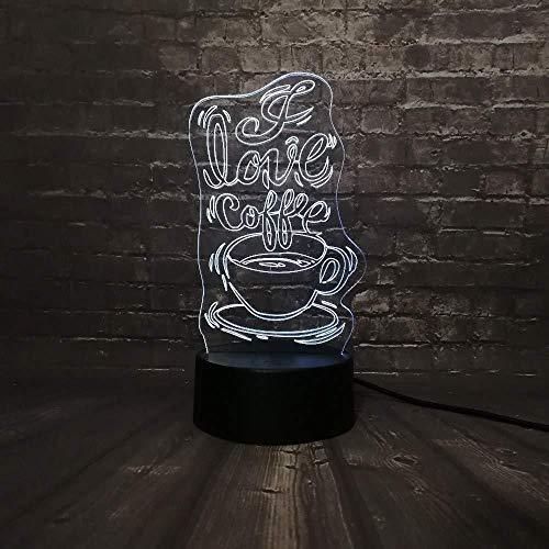 Bruiloft Gift 3D lamp Nacht Licht 3D Led Nacht Licht Koffie Shop Decoratie Lampje Decoratie Lampje Liefde USB Licht 7 Kleur Veranderen USB Touch Base View GIF T Speelgoed met Afstandsbediening USB