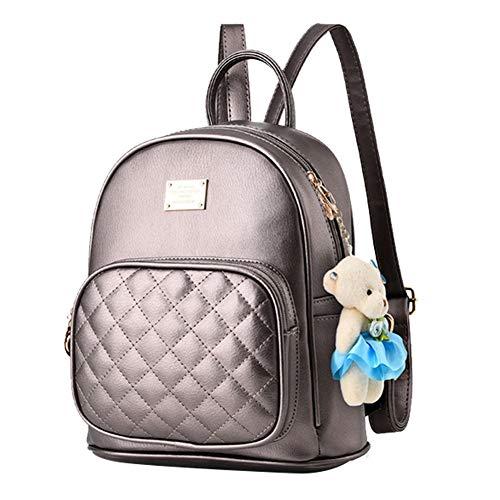 I IHAYNER Rucksack Damen Rucksäcke für Frauen PU Leder handtaschen Schultaschen Handtasche für Mädchen kleiner Bär Reise Daypacks Geldbörse Bronze