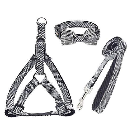 LZYMSZ Hundegeschirr Verstellbares und haltbares Plaid-Haustiergeschirr, 3er-Pack (Weste-Gurtzeug & Bow Collar & Leash) Anti-Twist-Hundeleine-Set für S/M/L Welpen, ideal für das tägliche Gehen (G/W)