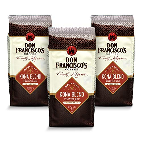 Don Francisco's Kona Blend— Medium Roast—Whole Bean Coffee—3 bags (12 oz. each)