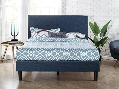 Fantastic Deal! Zinus Omkaram Upholstered Platform Bed With Wood Slat Support, Queen